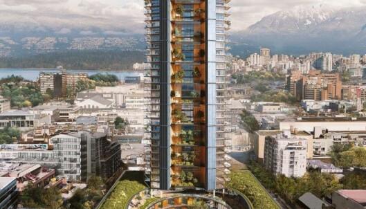 OVERTAR: Slik ser arkitektene Perkins+Will for seg det som skal overta Mjøstårnets plass som verdens høyeste trebygning.