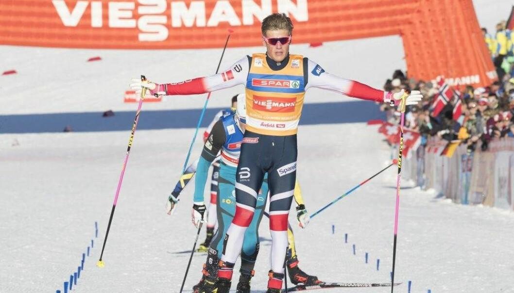 Seefeld, Østerrike 20180127. Johannes Høsflot Klæbo i finalen på sprint   i Seefeld. Foto: Terje Pedersen / NTB scanpix