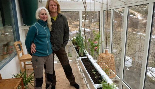 Tove og Espen Sandsund Seierstad produserer mat i vinterhagen, samtidig som de renser gråvannet. Selvprodusert betyr mindre svinn og mindre energi til frakt, peker de på.