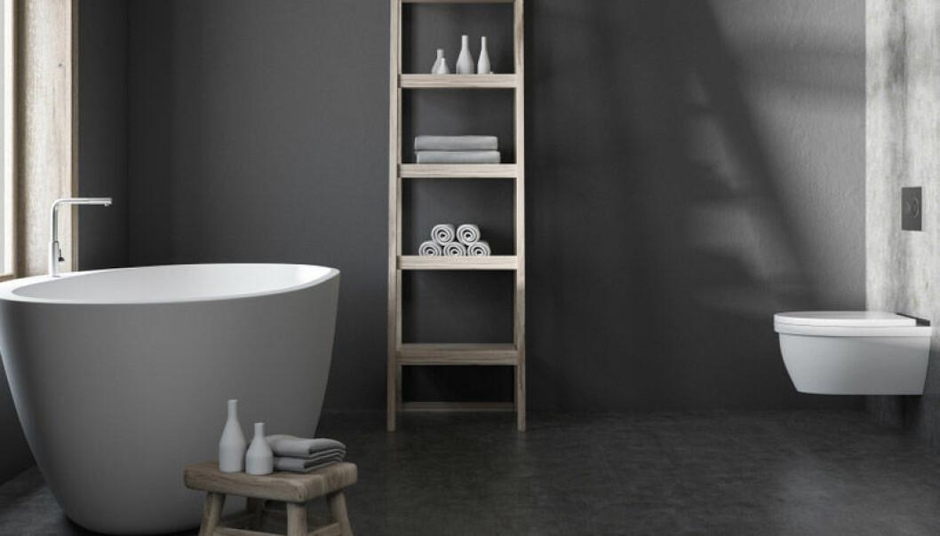 MØRKE UTSIKTER: Mange vil ha mørke bad, uten at de nødvendigvis tenker over hva virkningene av de mørke veggene blir. Foto: Shutterstock.com.