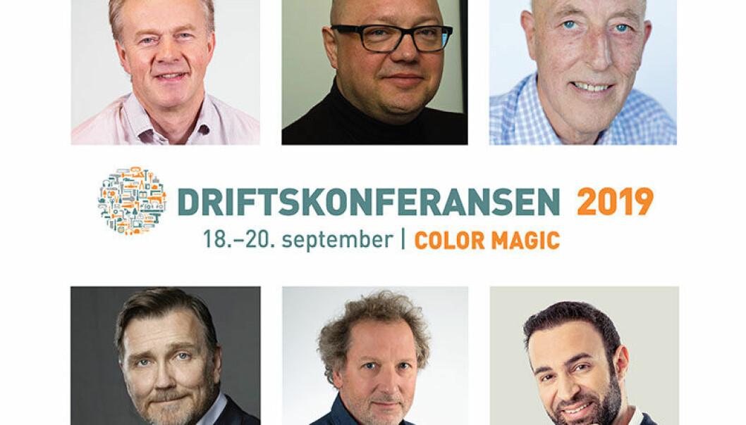 PÅ SCENEN: Mads Mysen (øverst til venstre), Gunnar Slinning Østad, Knut Løe, Thomas Erikson, Dag Anders Helle og Amin Haddadi er blant foredragsholderne på Driftskonferansen 2019.