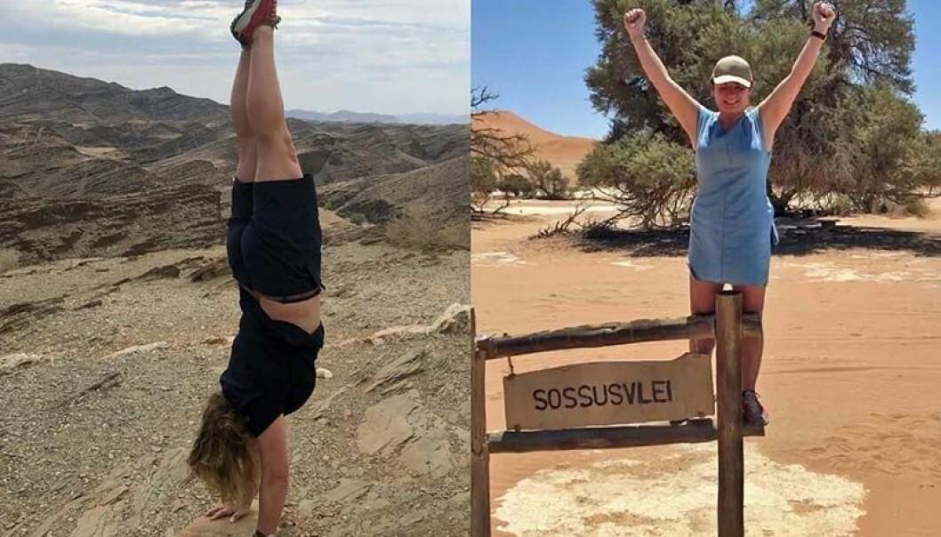HØYT OPPE: Et av de fjerne feriemålene som Eli Hermine Heyerdahl Eide har fått med seg, er Namibia – her «det årlige stå på hendene-bildet» fra et fjellpass, og et bilde fra ørkenen i 46 grader. FOTO: PRIVAT