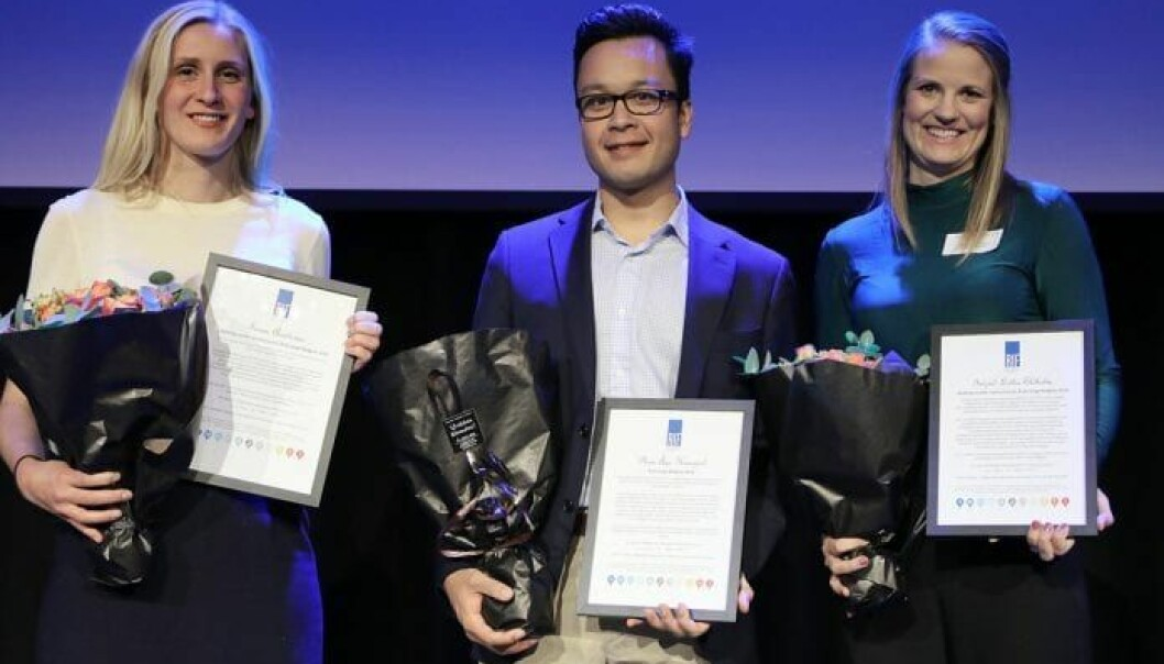 Finalistene: Landskapsarkitekt Taran Aanderaa i Asplan Viak, overvannsekspert Phan Åge Haugård i COWI (prisvinner) og prosjekteringsleder Ingrid Lothe Eldholm i Sweco Norge. Foto: RIF