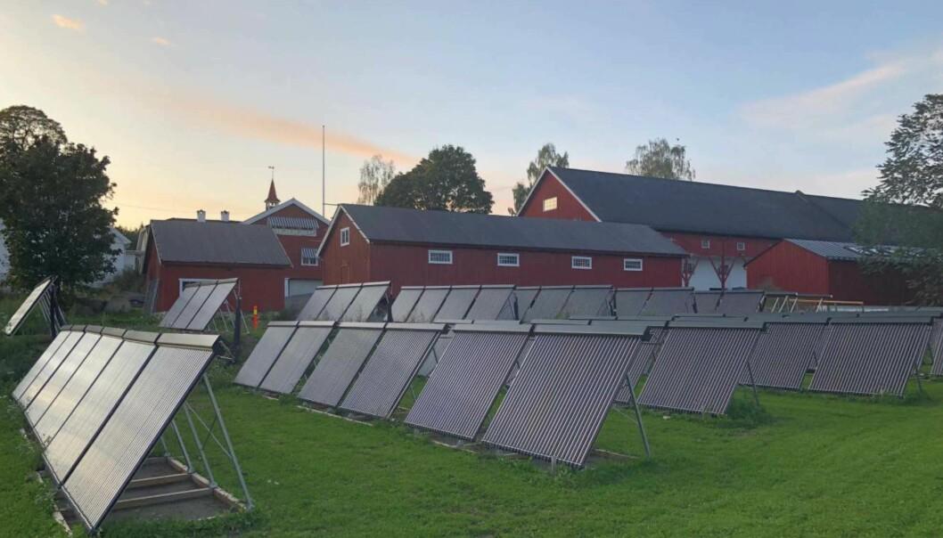 RØR: På bakken står det 260 kvadratmeter med vakuumrør, totalt 2730 rør, til å fange solvarmen.