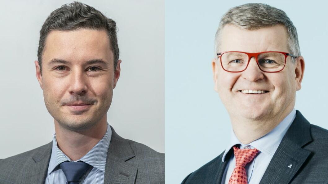 Panasonic kjøper Kauko Oy: Til venstre, Thibaut Marsol, viseadministrerende direktør i Panasonic Nordic og til høyre, Aki Ojanen, styreleder i Kauko Oy og administrerende direktør i Aspo Group.