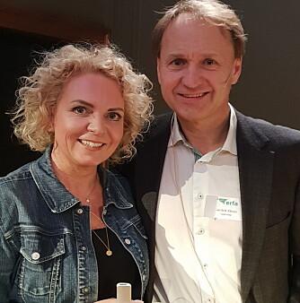 Fra ERFA 2019: Cecilie Thunem-Saanum ga deltakerne gode råd om tidsbruk i foredraget «Tid til alt». Her sammen med Camfils Jan-Erik Kleven.