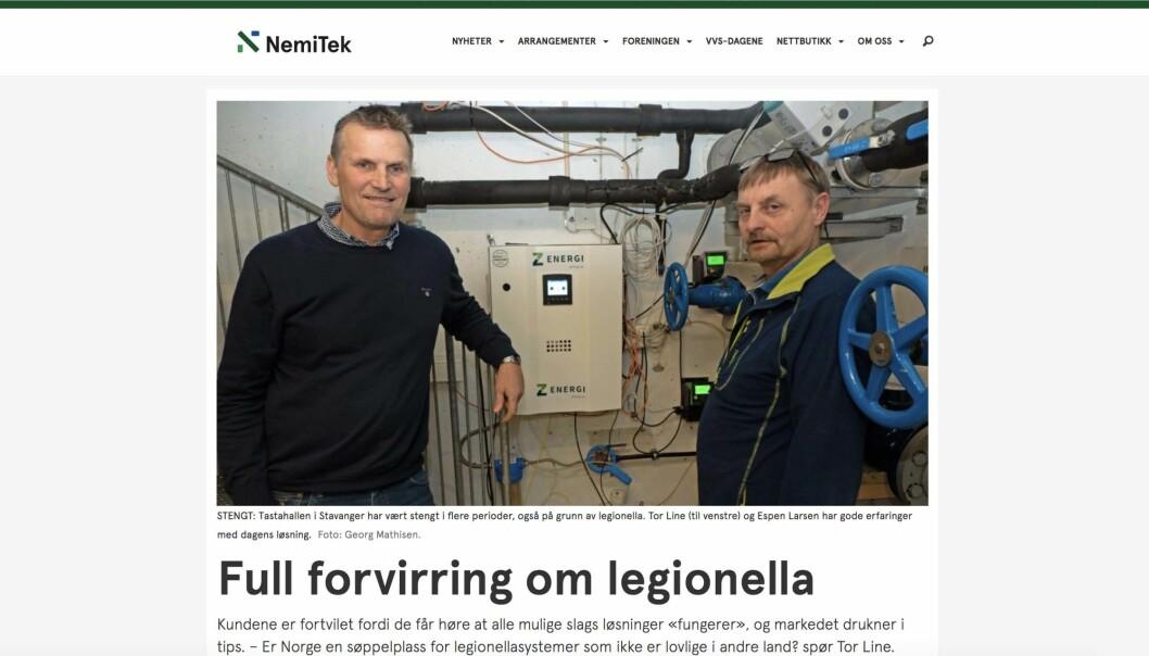 OMSTRIDT: Legionella-oppslaget på Nemitek.no møter sterke reaksjoner.