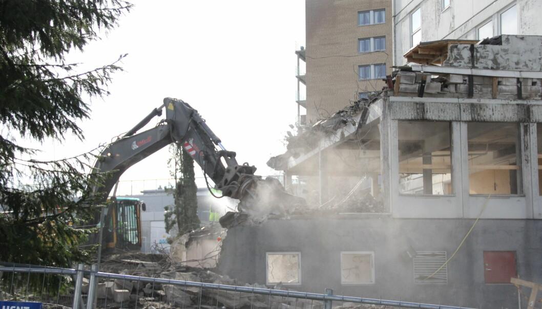 ØKT OMBRUK: Bildet viser riving av bygg på Bøler i Oslo.