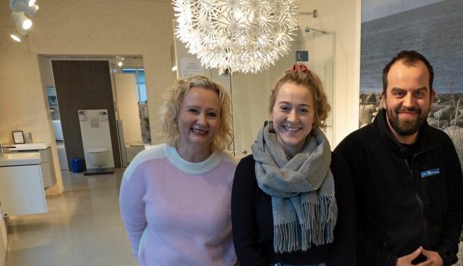 SHOWROOM: Butikken har viktig rolle som showroom og kundekontakt – Wenche B. Undheim, Annlaug Torgersen og Aslak Åslid møter kundene i lokalene i utkanten av Sandnes sentrum.