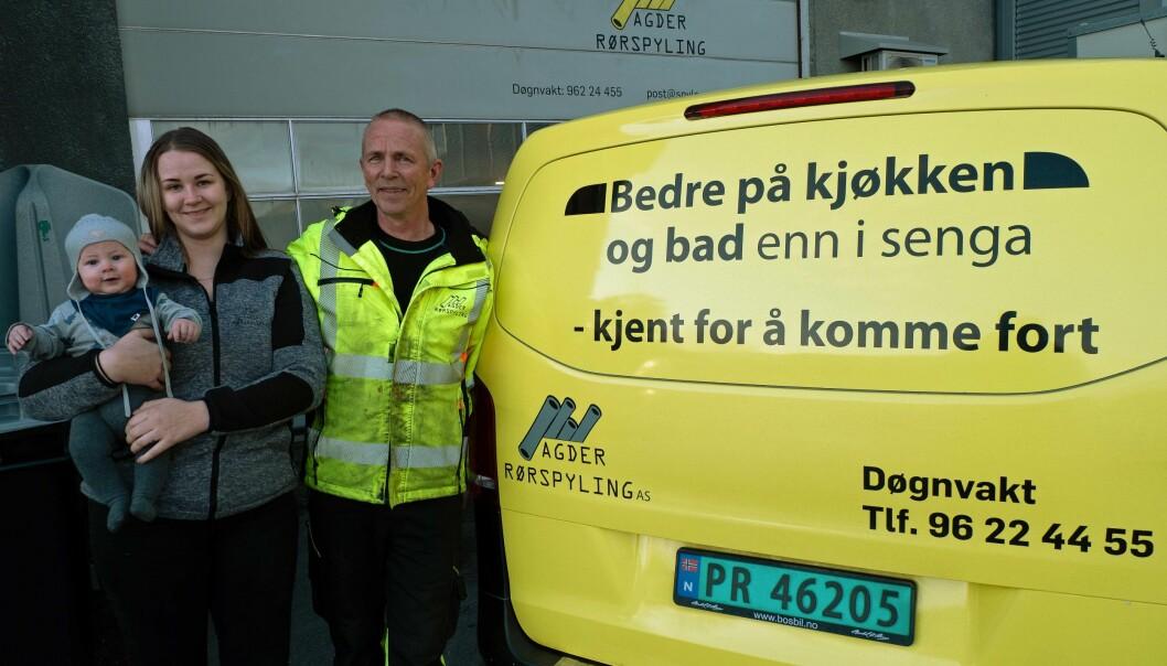KOM FORT: Tre generasjoner med rask reaksjon – Torje, Sofie og Petter Langholm.