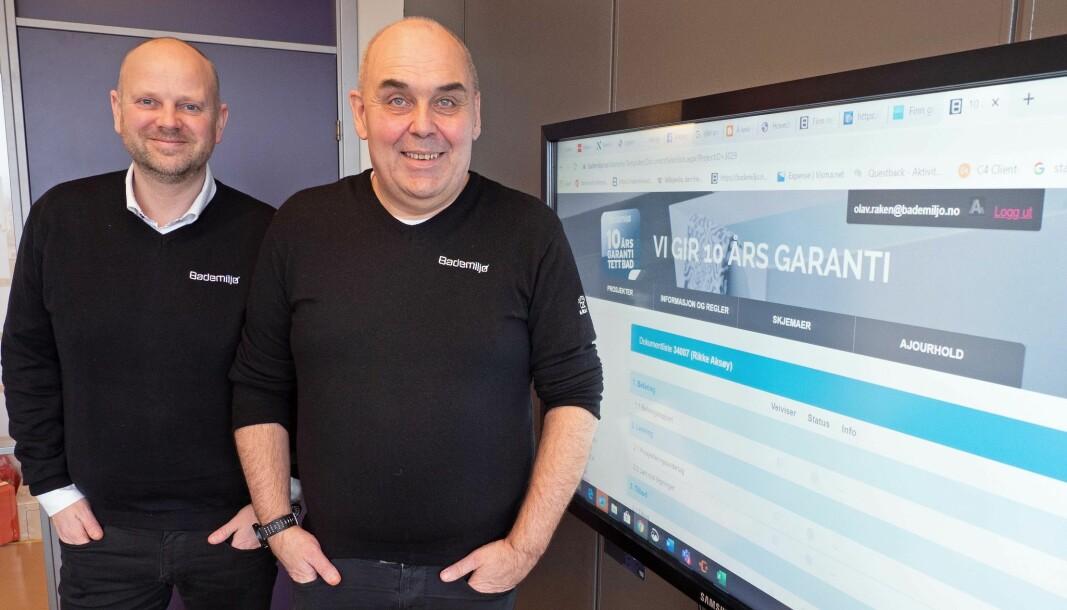 GARANTISTER: Jørgen Baardson (til venstre) og Olav Råken lanserer både tetthetsgaranti og nytt akademi.