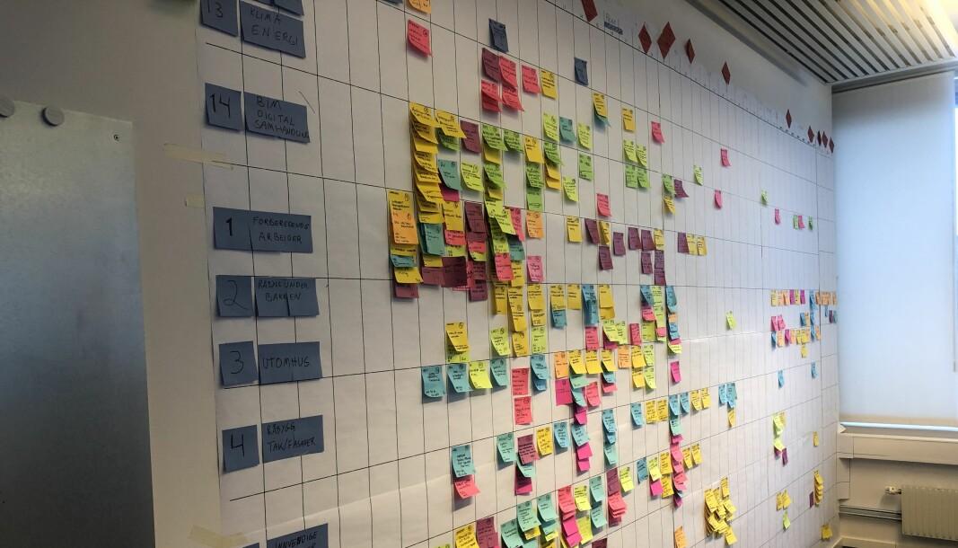 Bilde: Deler av prosjekteringsplan med post-its fra planleggingen av Oslo Storbylegevakt med Omsorgsbygg som byggherre.