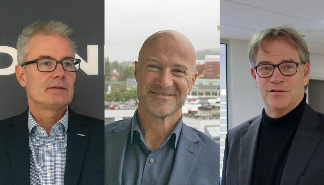 OVERRASKET: Sjefene hos grossistene forteller om overraskende god aktivitet siden koronatiltakene startet – fra venstre Bjørn Moen (Heidenreich), John Thomas Blandhoel (Ahlsell) og Asbjørn Vennebo (Brødrene Dahl).