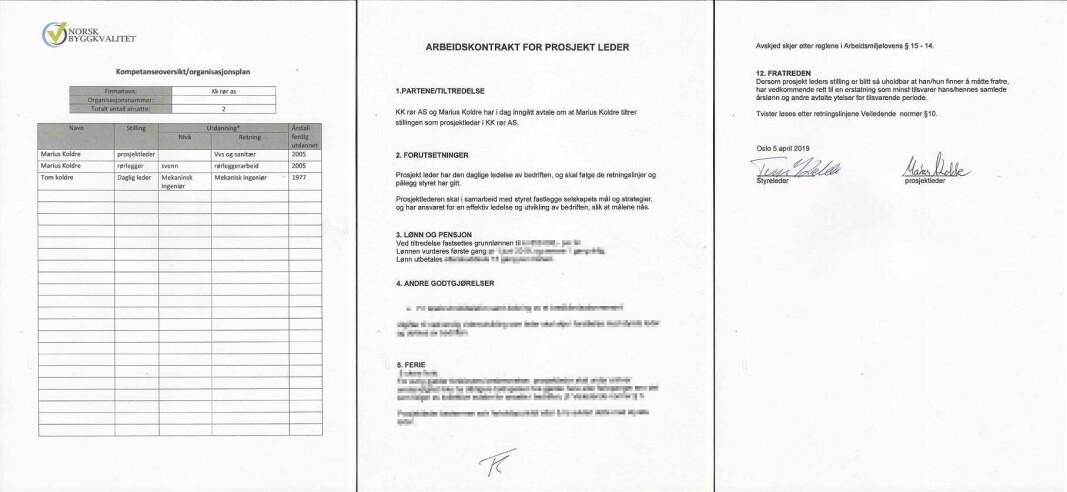 FAST ANSATT: Marius Koldre skriver at KK Rør ikke har noe å gjøre med de tidligere sakene han har vært innblandet i. Papirene som er sendt inn til DiBK viser at han er ansatt på full tid som faglig leder i firmaet.