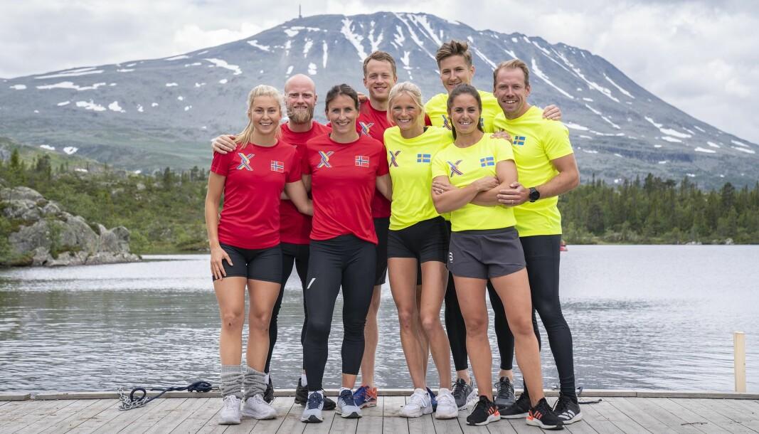 VINTERSTJERNER: Norge stiller med (fra venstre) Ingrid Landmark Tandrevold, Martin Johnsrud Sundby, Marit Bjørgen, og Tarjei Bø. De konkurrerer mot Frida Karlsson, Teodor Peterson, Anna Haag og Emil Jönsson fra Sverige.
