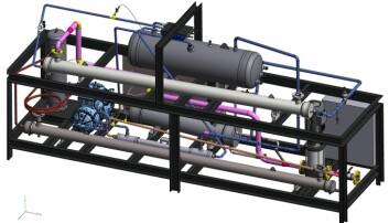 HJERTET: En 3D-tegning av et CO2-anlegg som skal forsyne et skolekjøkken i India med både varmt vann til matlaging og isvann til å kjøle lokaler og matvarer.