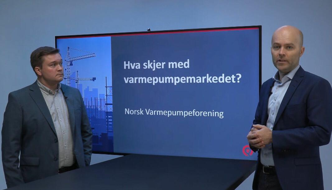 OPPDATERTE: David Lund (til venstre) og Rolf Iver Mytting Hagemoen stadfester at varmepumpesalget i år ikke har falt med mer enn 11 prosent fra rekordåret 2019.