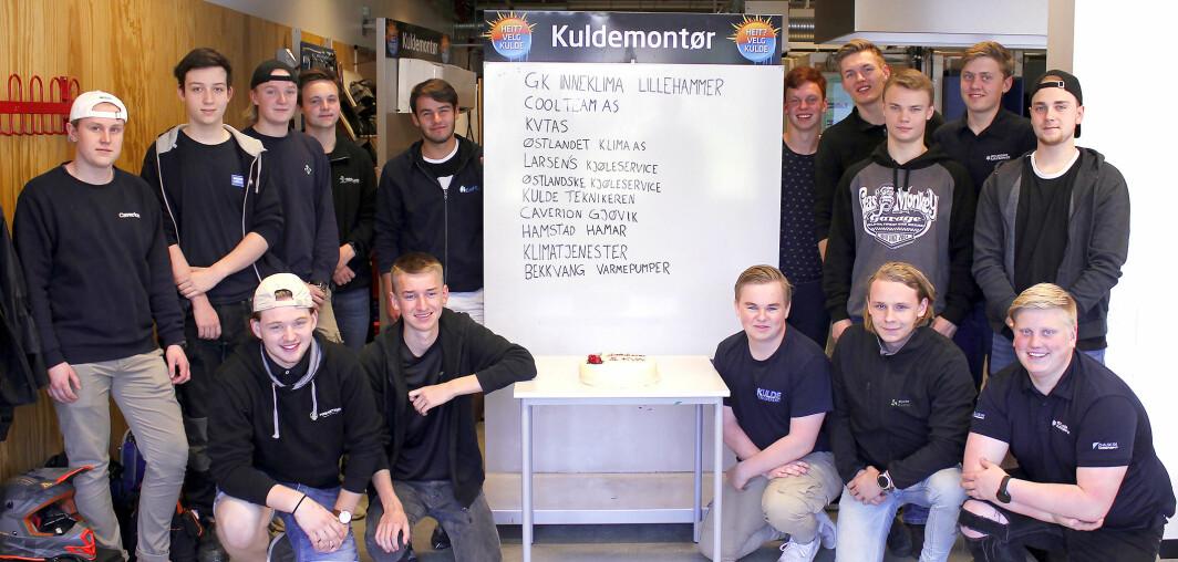 SUKSESS: Alle de 15 kuldeelevene på Ringsaker vgs våren 2019 fikk læreplass.