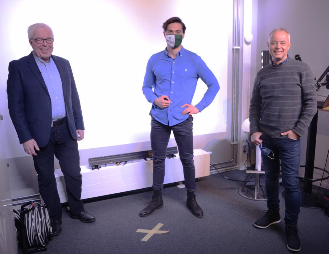 PÅ NETT: Ole Jørgen Veiby (til venstre), Eirik Trygstad og Stig Rath. Gjermund Vittersø deltok fra eget hjemmekontor.