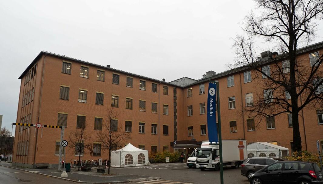 FRØS: Det var her i bygg 3 på Ullevål sykehus i Oslo at sprinkleranlegget på det kalde loftet frøs på to steder.