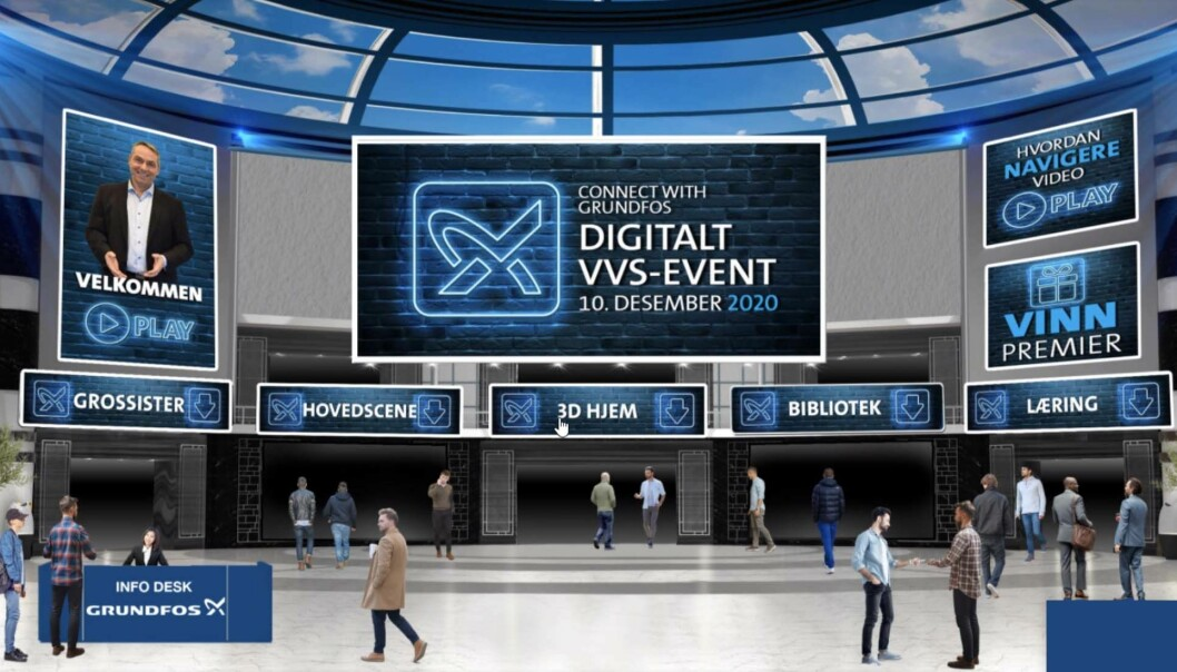 DIGITALDAG: Fra det helt enkle webinaret har Grundfos gått videre til et digitalarrangement med en rekke tilbud.