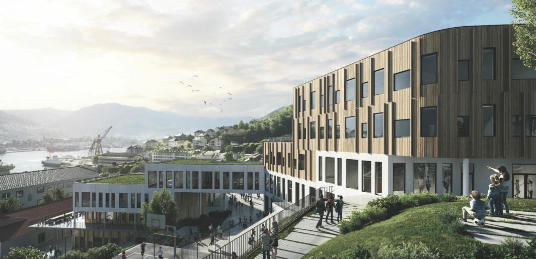 LIGGER FINT: Nye Holen skole ligger fint til på Laksevåg, med utsikt over Puddefjorden til Bergen sentrum.