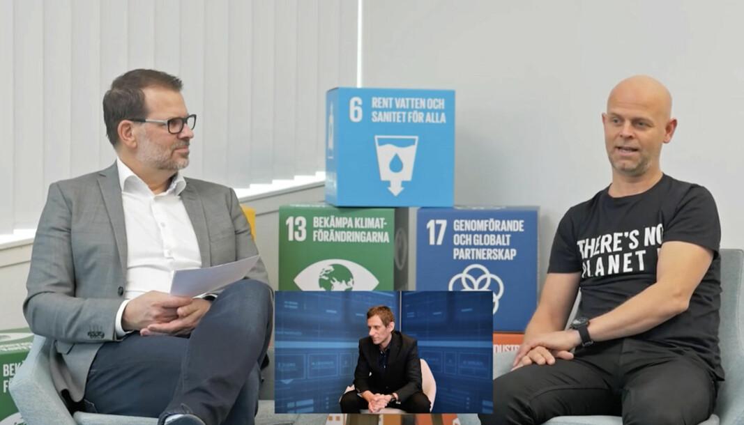 DIGITALISERER: De forteller bransjen om digitalisering til både installasjon og drift. Johan Ekstedt (til venstre), Fredrik Östbye (til høyre) og Dag Gramstad (innfelt) inviterte bransjen på talkshow.