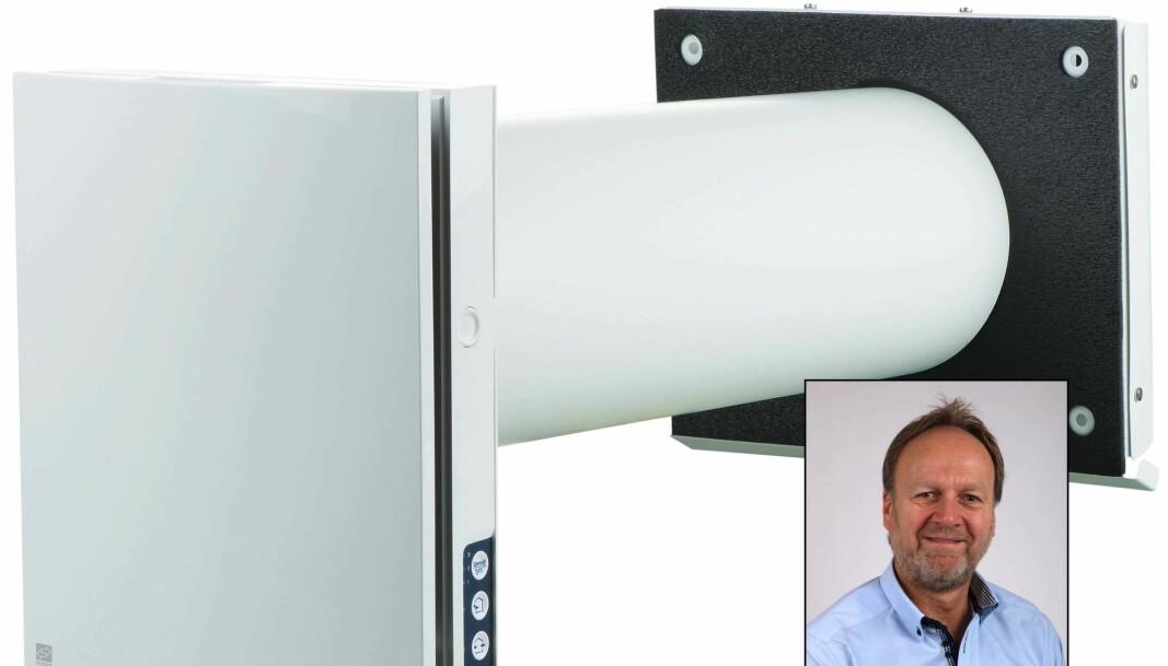 ROMVENTILATOR: Ventilatoren som gir bedre inneklima på ett enkelt rom er blitt et populært produkt, blant annet på hjemmekontoret, forteller Jon Dehli (innfelt).