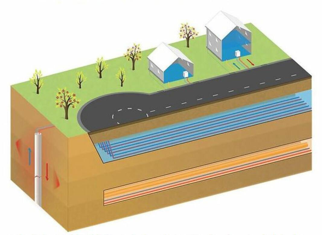 EFFEKTIVT: Veien har vanlig asfaltdekke, hvorfra vannet via tradisjonelle rennesteinsbrønner ledes til et stabilt bærelag med stor dreneringskapasitet, hvor det også finnes et jordvarmesystem.