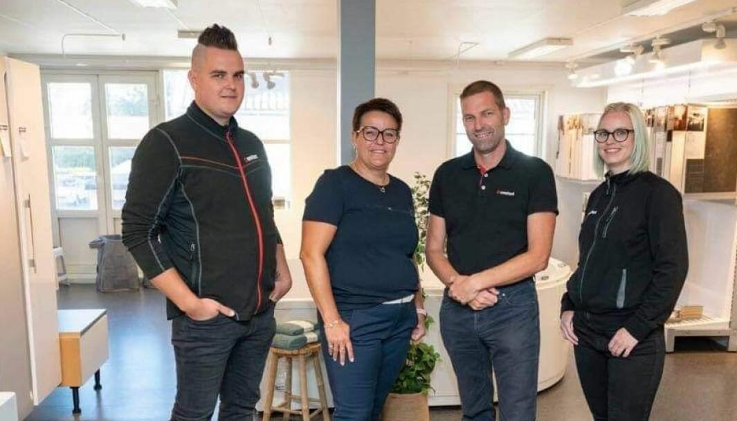Den 60 år gamle familiebedriften Comfort Fredrikstad, Arne Nilsen AS, holder virksomheten i gang ved å være nøye på smittevernregler, fra venstre Anders Nilsen, Vibeke Nilsen, Truls Arne Nilsen og Iselin Tvete Swensen.