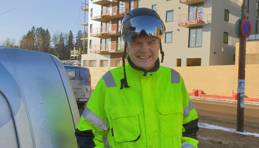 Daglig leder Knut Jensen i Eriksen & Jensen AS på byggeplass på Frysja i Oslo, der bedriften bygger 900 leiligheter sammen med Veidekke.