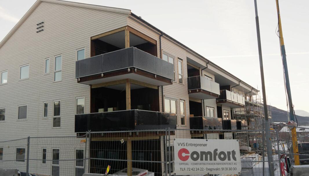KARANTENESTED: Bygget som skal bli 14 leiligheter på Oppdal, ble brukt til karantenested for tømrerne, mens rørleggerne ikke slapp inn.