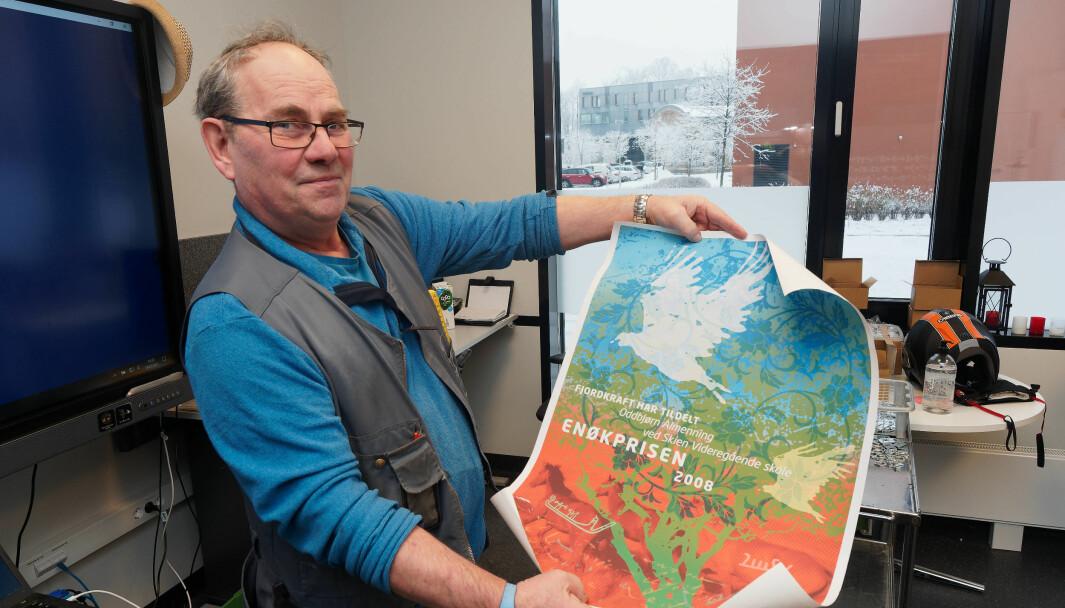 VETERAN: Allerede i 2008 fikk Oddbjørn Almenning enøkpris. Siden har han fortsatt å drifte Skien videregående skole energieffektivt og med godt innemiljø.