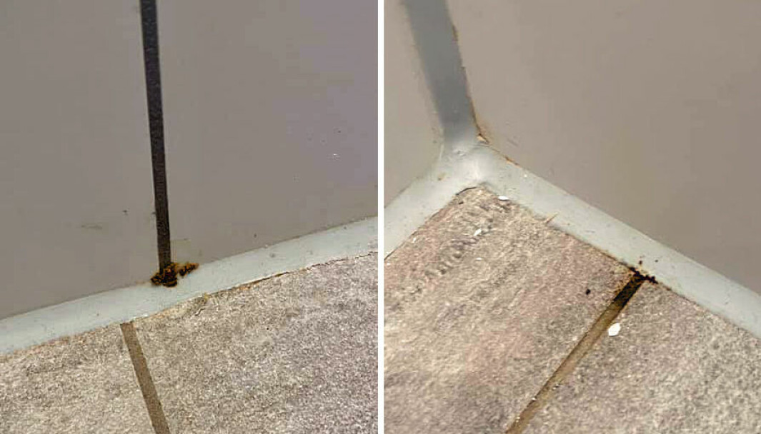 ØDELAGT: Noen ganger blir våtromskabinene stående ute på byggeplassen til de får skader.