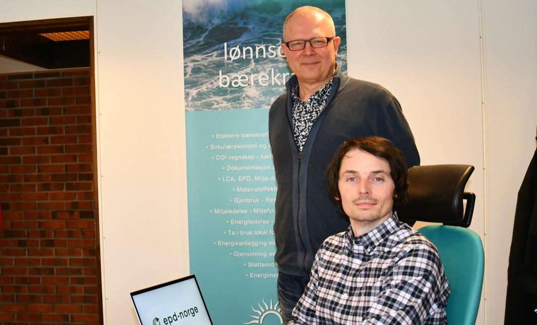 TIL EPD-TJENESTE: Daglig leder Harald J. Lillebø (bak) og fagleder for bærekraft og miljø i Energiråd AS, Børge Heggen Johansen.