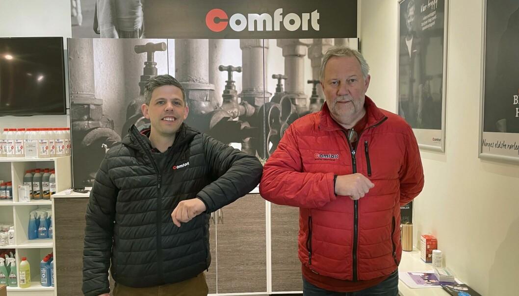 PARTNERE: Ole-Tonny Johansen Larsen (til venstre) og Georg Gran har gått sammen om å starte Teknisk Sprinkler.