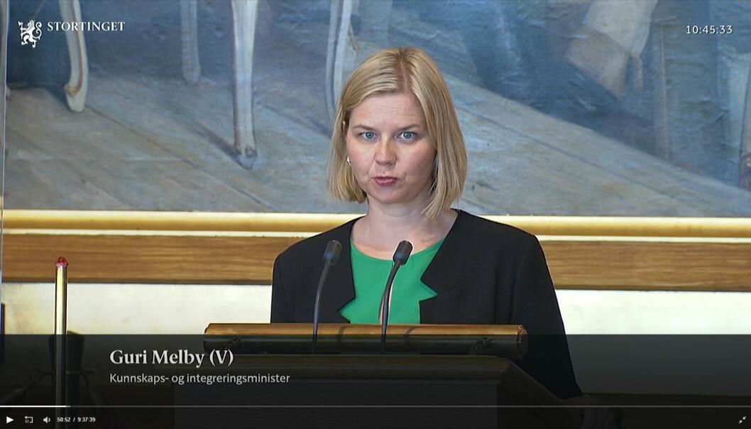 – Dette er den viktigste reformen for videregående skole på 30 år, sa kunnskapsminister Guri Melby og er glad for at Stortinget stiller seg bak over 90 % av innholdet.