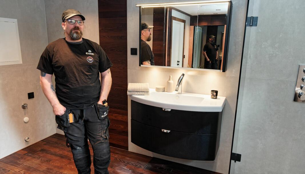 SELVVALGT: Stian Sandberg har valgt de løsningene til sitt eget bad som han ikke får overtalt kundene til å bruke.