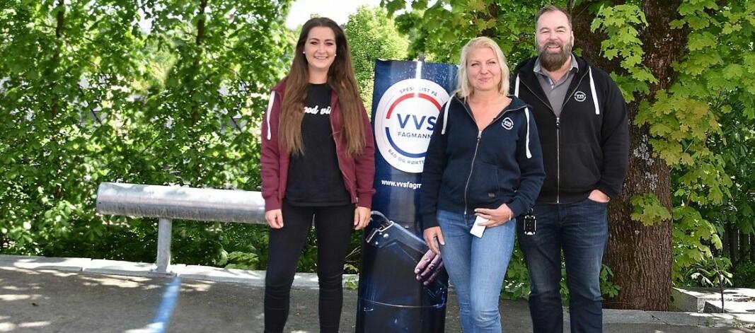 VVS Fagmann-teamet: Markedssjef i Brødrene Dahl, Ane Soløst (til venstre), markedskoordinator Stine Bendiksen og leder Jan-Christian Heggeli.
